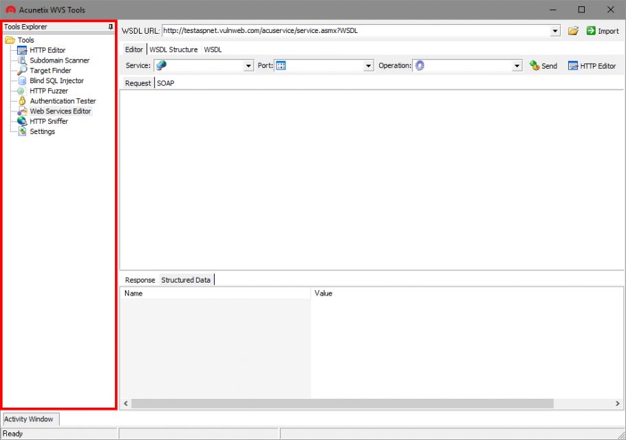 The Web Services Editor is a tool that forms part of the Acunetix Manual Pen Testing Tools suite (available to download for free). The Web Services Editor allows you to import an online or local WSDL file for an in depth analysis of WSDL requests and responses. The editor also features syntax highlighting for all languages, making it easy to edit SOAP headers and customize manual attacks. Editing and sending of Web Services SOAP messages is very similar to editing normal requests sent via the Acunetix HTTP Editor. You can start using the Web Services Editor by launching the Acunetix Tools application, and selecting the Web Services Editor from the Tools Explorer.